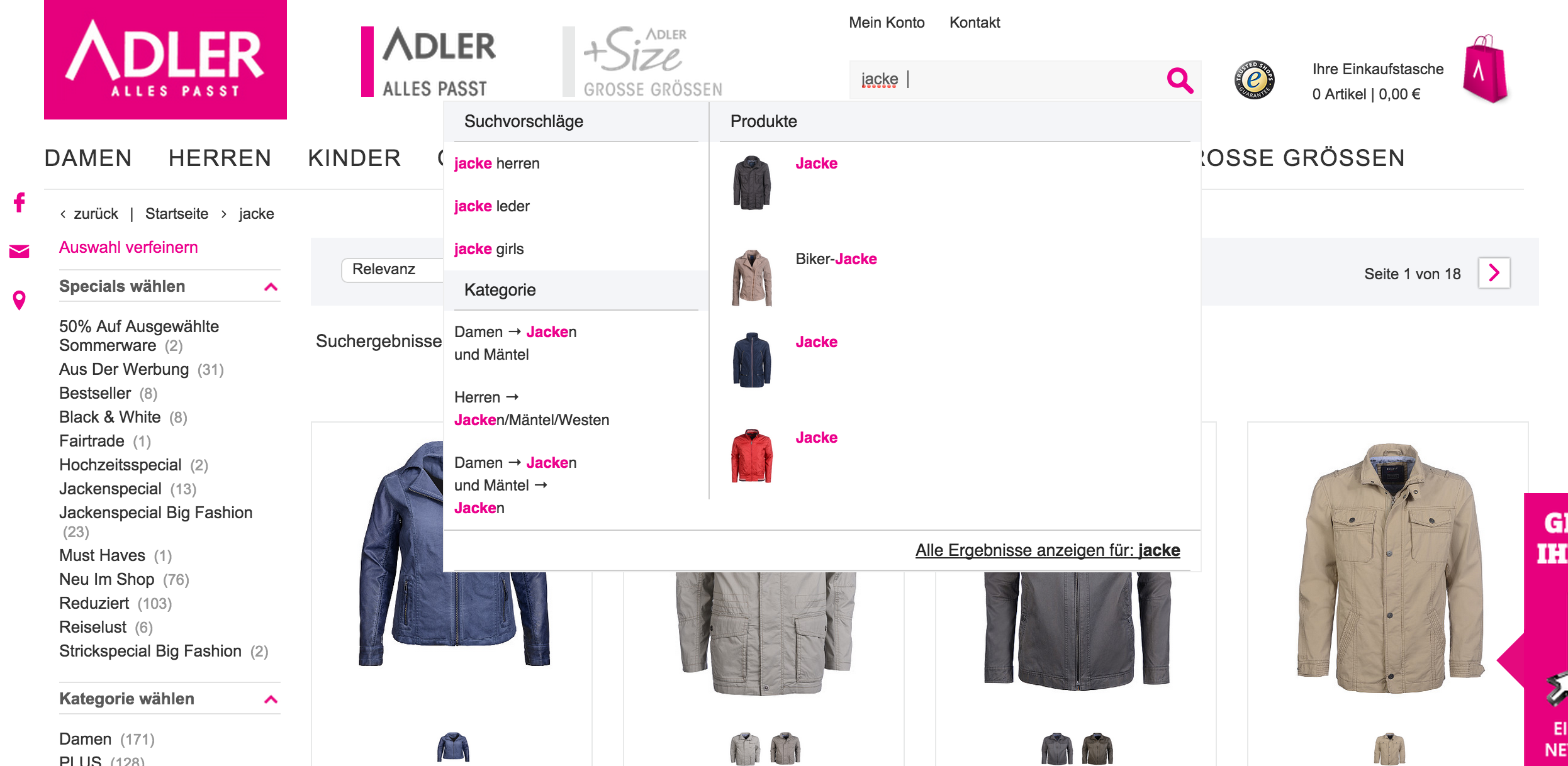 Online-Shop www.adlermode.com